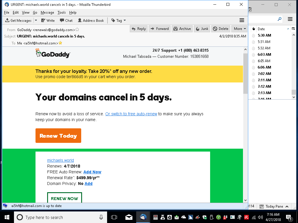a screenshot of an email from Godaddy saying my renewal will be $499.99